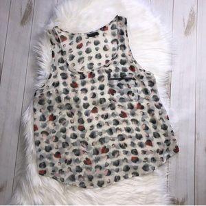 Topshop Sheer Hearts Blouse Zipper Pocket Top